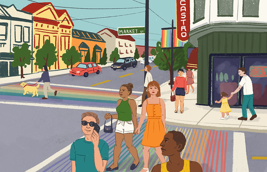 Illustration of the Castro rainbow crosswalk