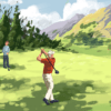 Illustration of a father and two kids playing golf