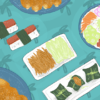 Illustration of an assortment of Hawaiian cuisine
