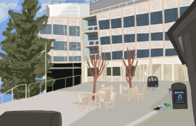 Illustration of Chou Hall with trash on the floor.