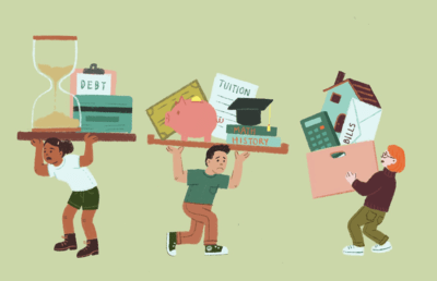 illustration of financial aid struggles and students under pressure