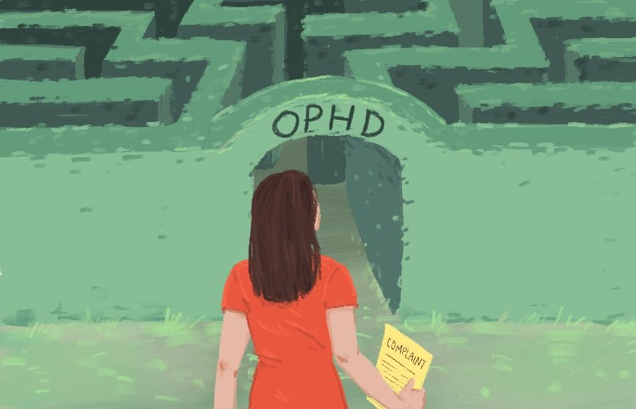 Illustration of person holding complaint in front of maze titled OPHD