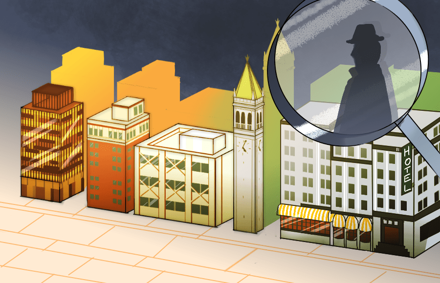 Illustration of Berkeley buildings with magnifying glass with suspicious man