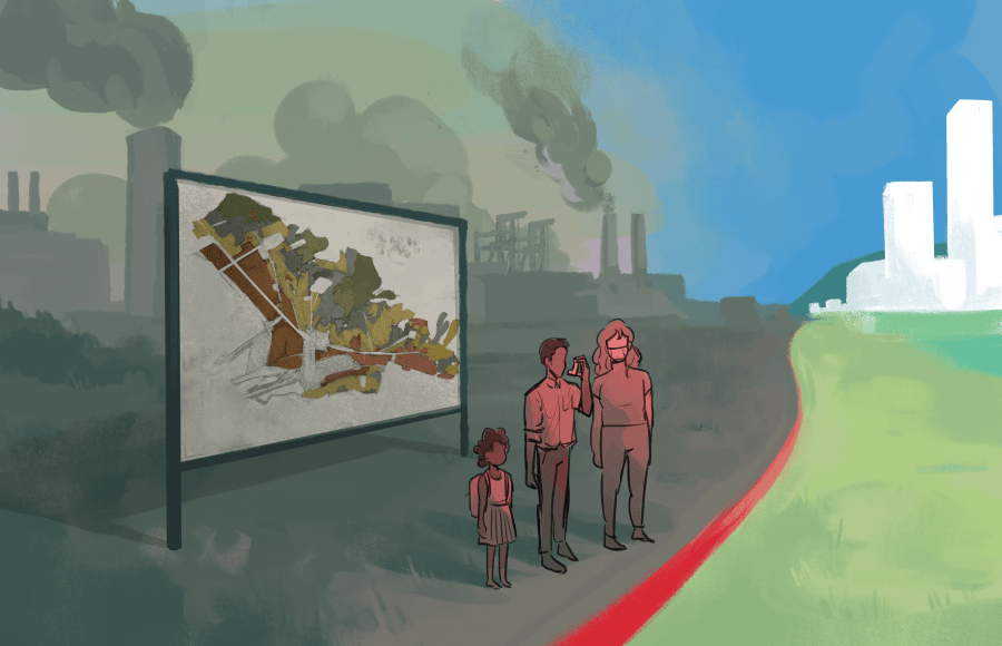 Illustration of people standing next to a red line separating a polluted area of the city from a clean area.