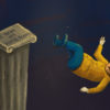"Illustration of Oski falling off a pedestal titled ""US News and World Report"""