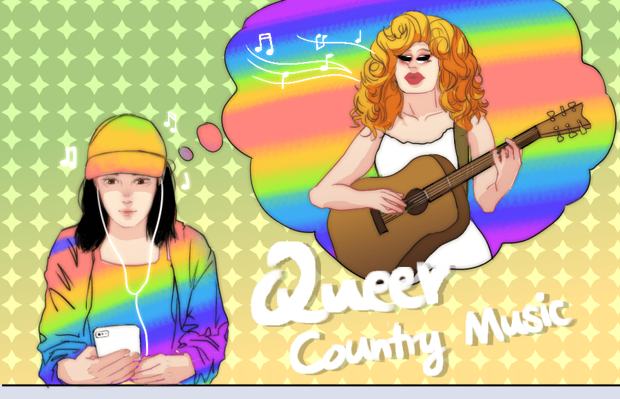 Illustration of person listening to queer country music