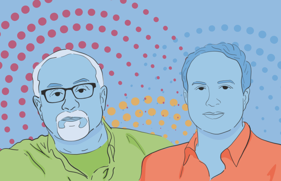 Illustrations of two film directors, Zoabi and Lewkowicz