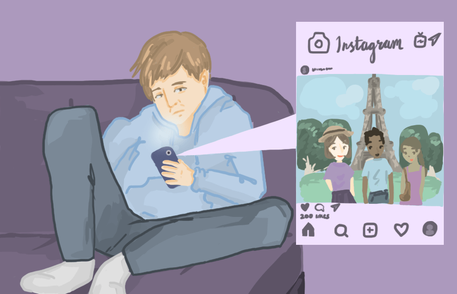 Illustration of person looking at Instagram posts on phone