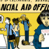 Illustration of people looking stressed at the Financial Aid Office