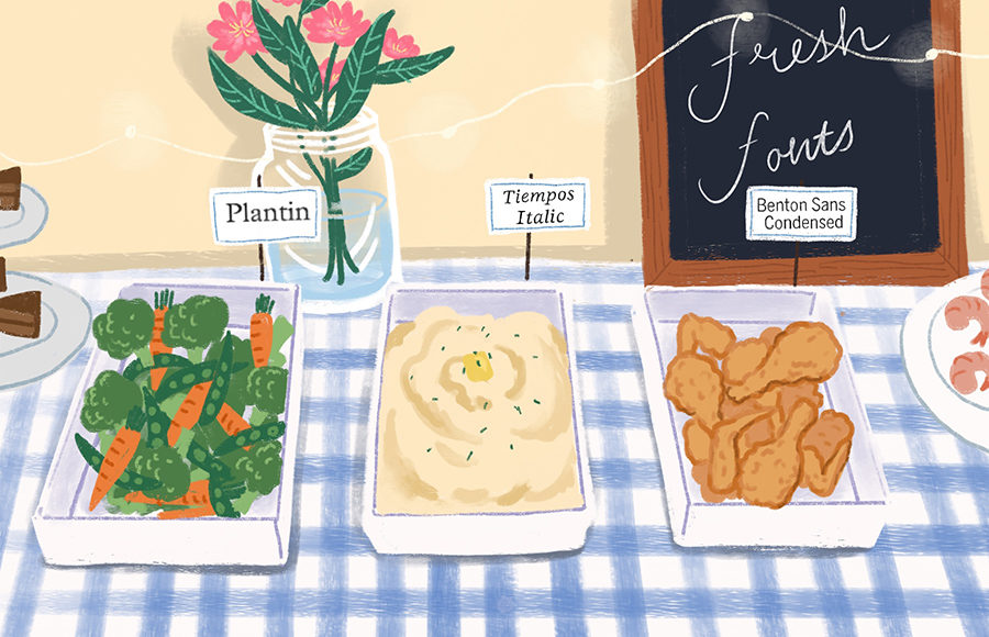 Illustration of fonts as buffet style foods