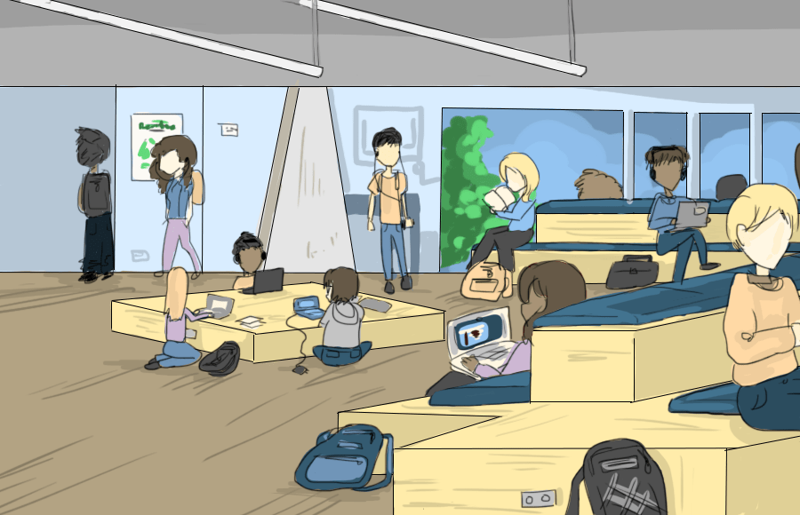 Illustration of people studying in Moffitt Library