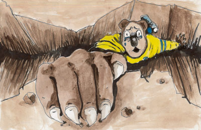 Illustration of Oski falling down a crevice in the ground