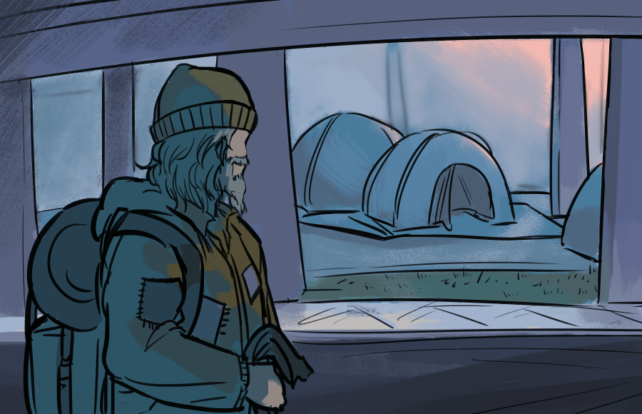 Illustration of homeless person in front of encampment