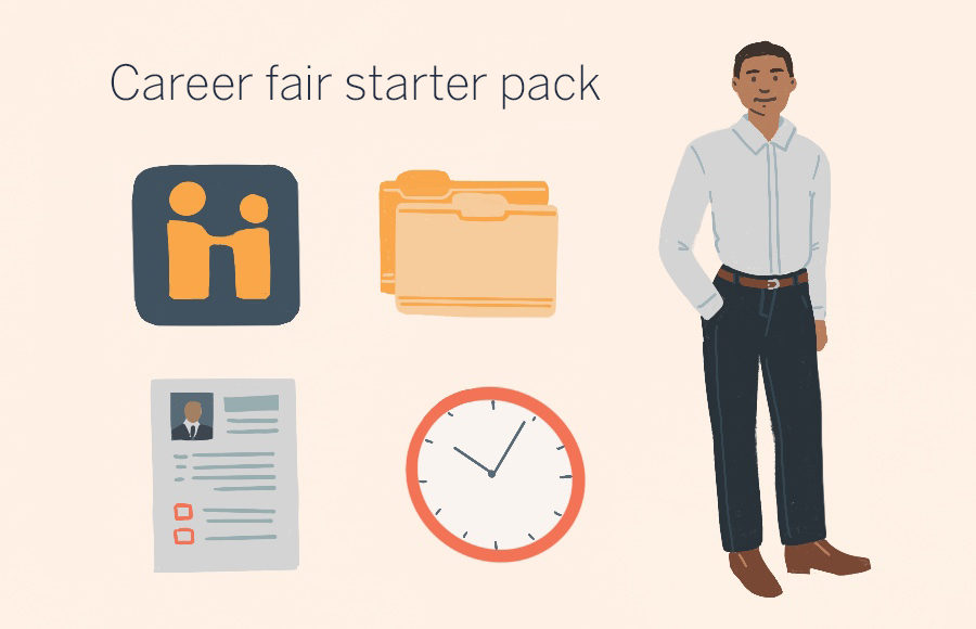 Illustration of career fair starter pack