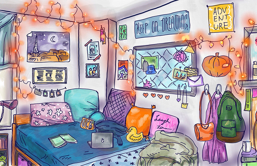 Illustration of dorm room