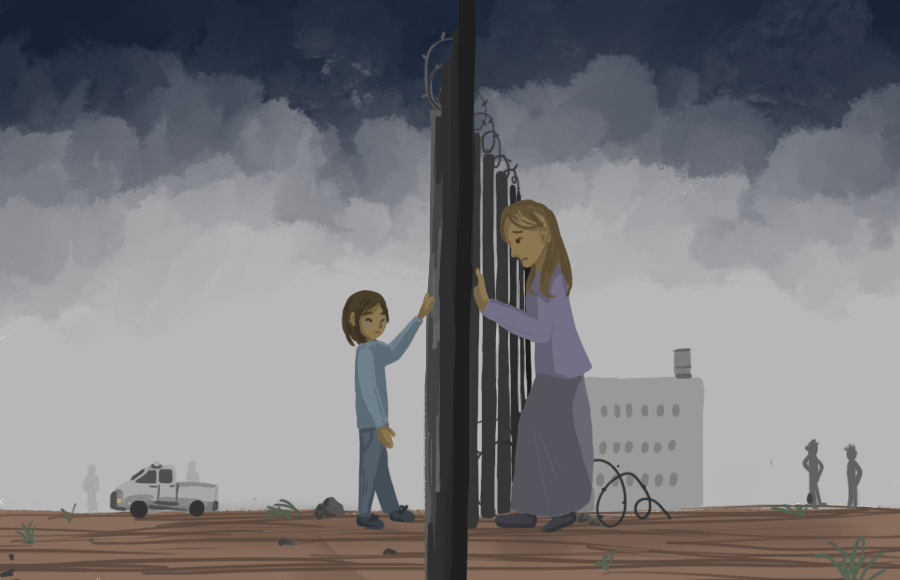Illustration of a mother and child separated by a border fence