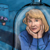 Illustration of Sylvia Plath in a bell jar
