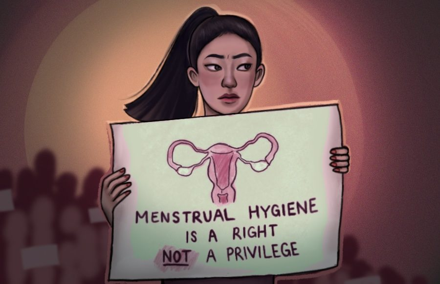 "Illustration of person with sign that reads ""menstrual hygiene is a right not a privilege"""