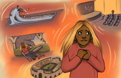 Illustration of person imagining disasters