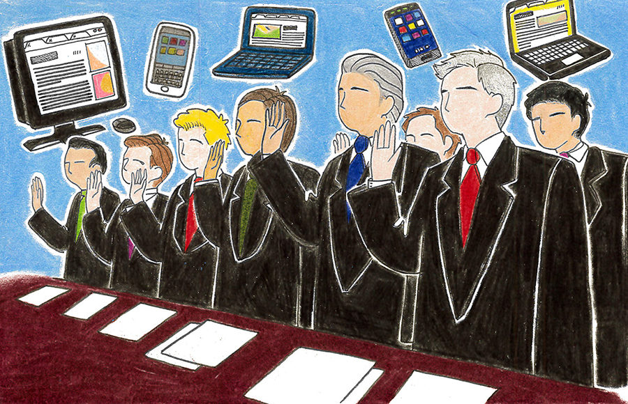 Illustration of politicians with tech devices