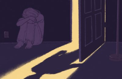 Illustration of scared woman with shadowy figure