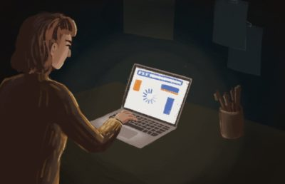 Illustration of person with laptop in the dark