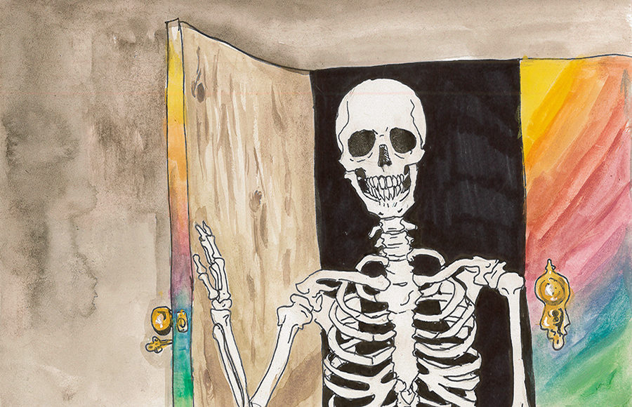 Illustration of skeleton coming out of closet