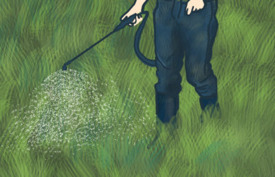 Illustration of person spraying field with herbicides