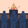 Illustration of Ann Coulter and police