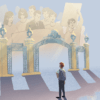 Illustration of Sather Gate with memory of protests