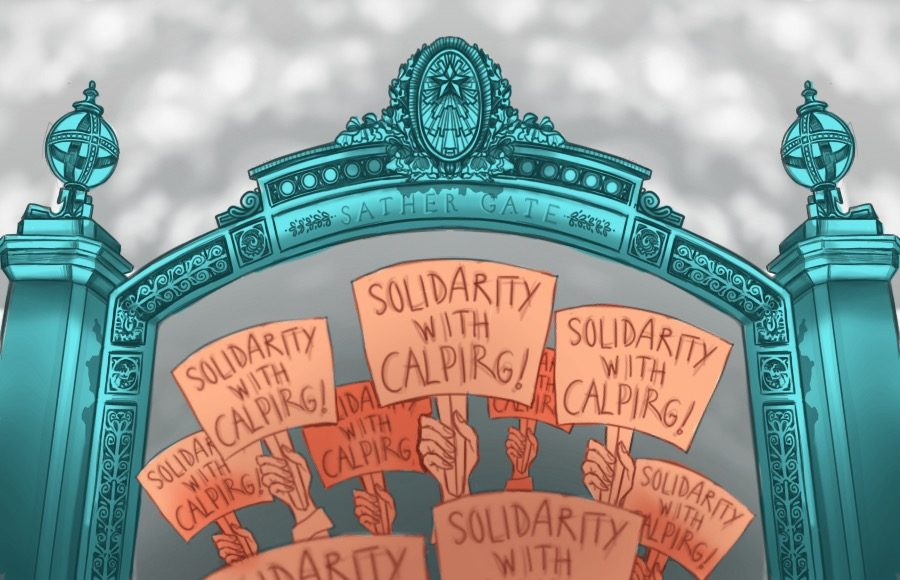 Illustration of protests for solidarity with CALPIRG