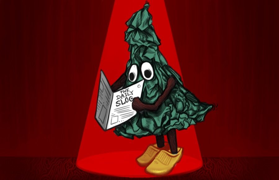 Illustration of Stanford tree reading The Daily Slog