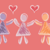 Illustration of three figures with hearts