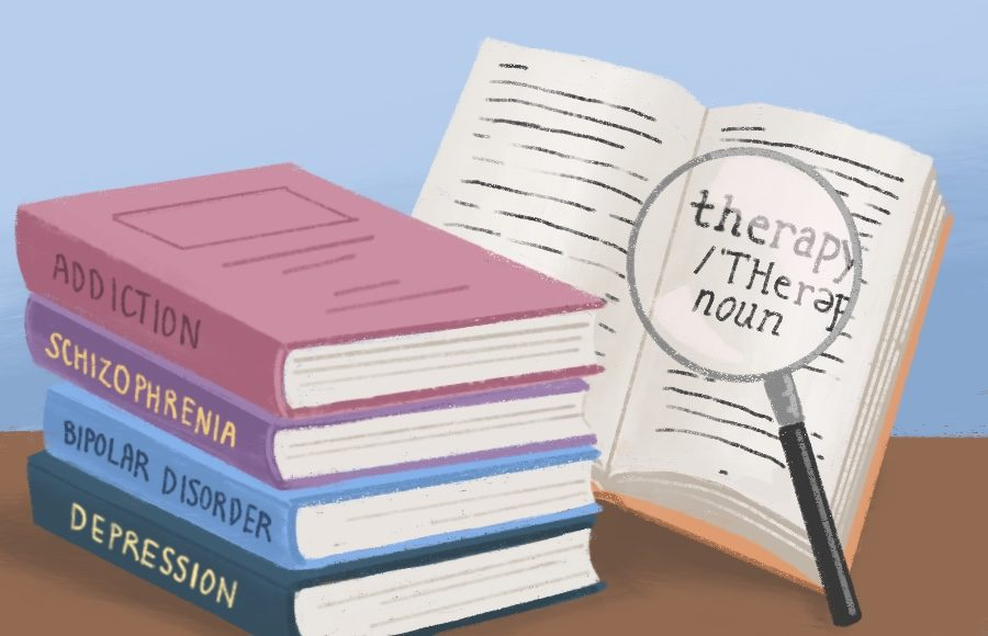 Illustration of books on mental health