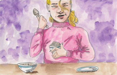 Illustration of person eating food