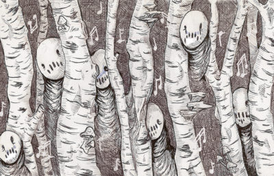 Illustration of ghosts and music notes in a forest