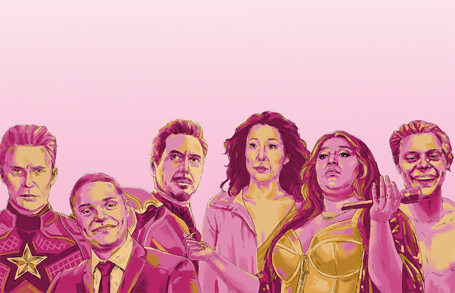 Illustration of Captain America, Iron Man, Trevor Noah, Sandra Oh, Lizzo, and Harry Styles