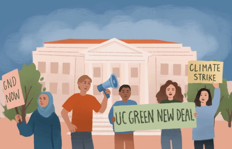 Illustration of Climate Strike in front of Sproul