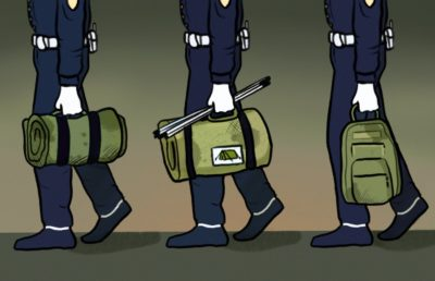 Illustration of police officers carrying backpacks, tents, and sleeping bags