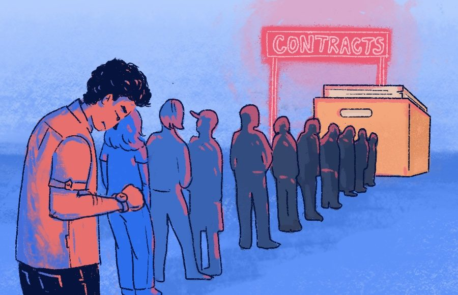 Illustration of line of people waiting for contracts