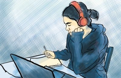 Illustration of person studying and listening to music