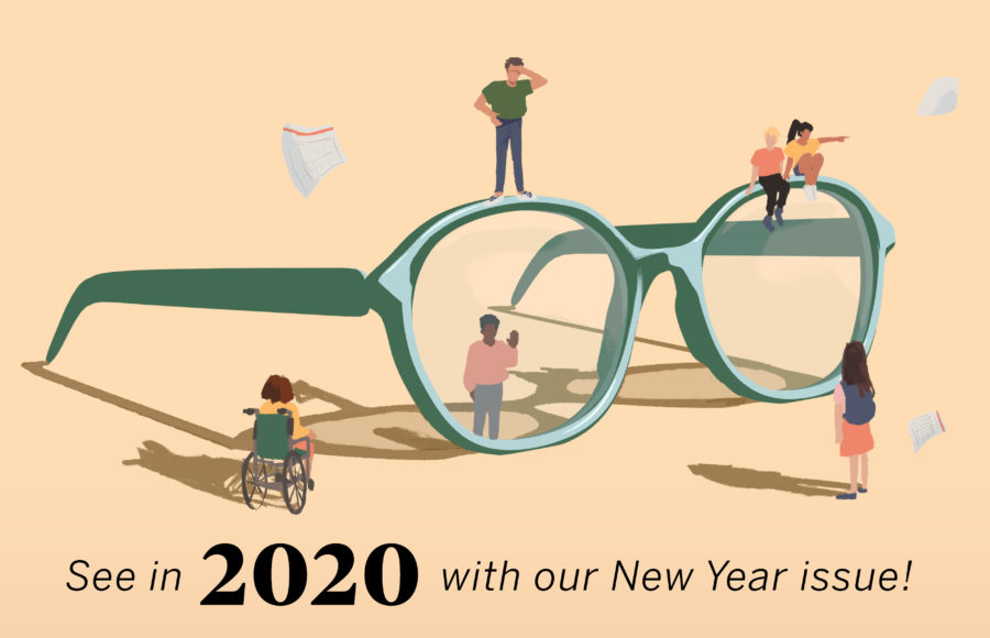 Illustration of small people standing around a giant pair of glasses