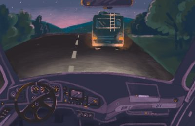 Illustration of RV driving at night