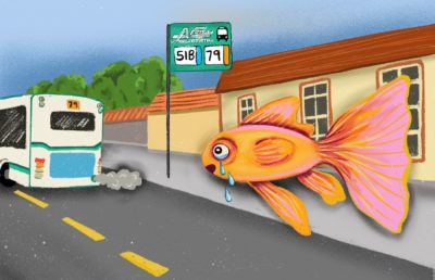 Illustration of crying fish at bus stop