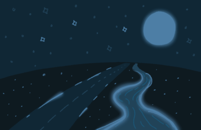 Illustration of road and moon at night