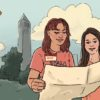 Illustration of two female students looking at map on Berkeley campus