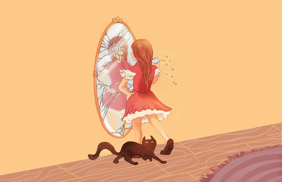 Illustration of girl looking at cracked mirror