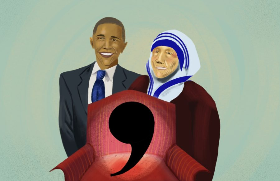 Illustration of Obama, Mother Teresa, and oxford comma