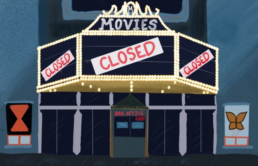 Illustration of closed movie theater