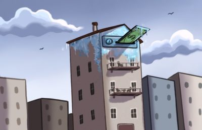 Illustration of frozen apartment building with money going into it